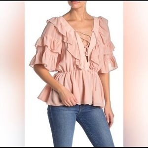 Do + Be Pink Peach Ruffled Cross Front Blouse
